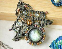 Labradorite gemstone necklace micro-macrame by MartaJewelry