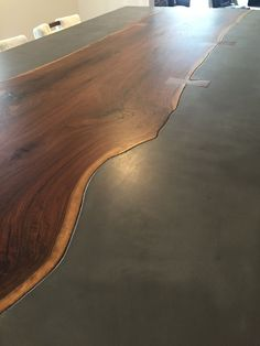 Custom Made Live Edge Dining Table With Concrete
