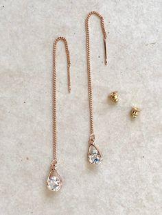 3e0ad5db2 Rose Gold Long Dangle CZ Tear Drop Threader Earrings   CZ Tear Drop Earrings    Threader Earrings   D