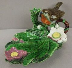 lighting, England, A Mintons, rare form [majolica pottery] bird handle leaf tray with flowers and candleholder, shape no. 1567, great color and detail, very RARE Circa 1860-1900