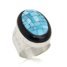Jay King Sleeping Beauty Turquoise and Tourmaline Ring