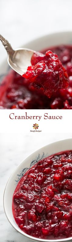 Cranberry Sauce ~ Classic, easy and delicious Thanksgiving cranberry sauce recipe.  How to make cranberry sauce from scratch.  Perfect with turkey. ~ SimplyRecipes.com