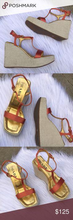 PRADA SZ 7 SATIN ORANGY WEDGES SHOES HEELS PUMPS 100% authentic and soooo hot for summer :) Prada Shoes