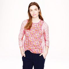 J.Crew - Liberty mixed floral pleated top in pinkFounded in 1875, London's Liberty Art Fabrics is one of our favorite sources for the best florals and paisleys. We mixed two of the print house's archival prints (both were recolored exclusively for J.Crew) on this airy baby-doll-style top for some serious flower power.hotpink