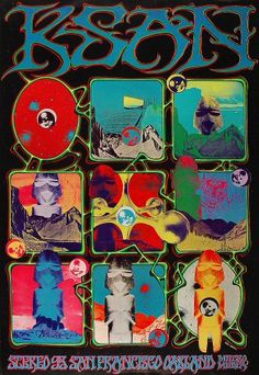 KSAN Stereo 95 Radio Station Promo Poster - Rock posters, concert posters, and vintage posters from the Fillmore, Fillmore East, Winterland, Grande Ballroom, Armadillo World Headquarters, The Ark, The Bank, Kaleidoscope Club, Shrine Auditorium and Avalon Ballroom.