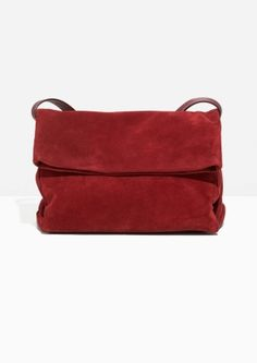 & Other Stories Fold-Over Suede Crossbody   in Red