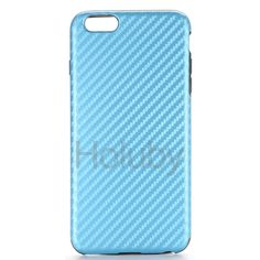 Carbon Fiber Pattern Leather Coated TPU Back Cover Case for iPhone 6 Plus 6S Plus 5.5 inch (Baby Blue)