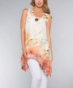 Look at this Vasna Coral Animal Medallion Handkerchief Top on #zulily today!