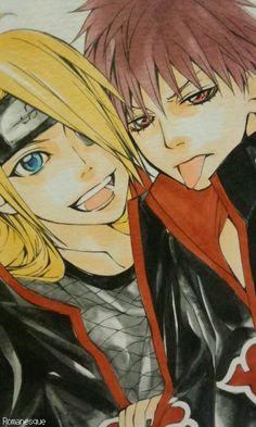 Deidara & Sasori I haven't started on naruto shippudan yet, but like the art Naruto Kakashi, Anime Naruto, Naruto Shippuden, Boruto, Sarada Uchiha, Anime Guys, Manga Anime, Sasunaru, Sasori And Deidara