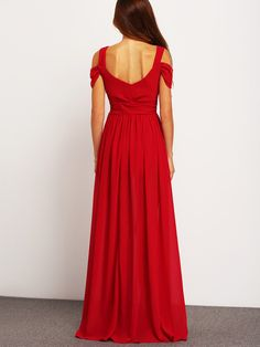 Wine Red Off The Shoulder Maxi Dress -SheIn(Sheinside)