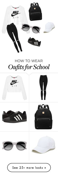 nike shoes Black and white school outfit by fcong on Polyvore featuring Topshop, NIKE, adidas, Ace and Sole Society