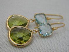 Peridot and Aquamarine Dangle Earrings Trimmed in by Greenperidot, $27.50