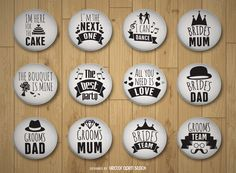 Set of black and white wedding pins featuring texts such as Bride's mum, Groom's…