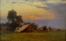 """Maksymilian Gierymski, """"Obóz"""", 1869, olej na płótnie na tekturze, 13,5 x 22 cm, fot. własność prywatna"""