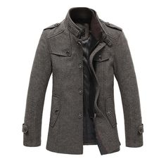 Stylish Stand-Up Collar Men's Mid-Length Wool Blend Coat M-3XL 2 Colors-Loluxe