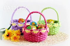Small Easy Crochet Projects | Crochet Pattern Small Crochet Baskets by ZoomYummy on Etsy