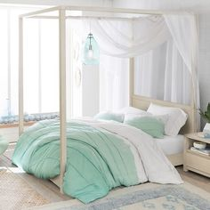 Effortlessly chic, our Costa Collection adds timeless appeal and relaxed ambience to your sleep space. The canopy bed is designed to make a statement with its beautifully crafted posters and rich water-based finish applied by hand. Teen Canopy Bed, Girls Bedroom Canopy, Teen Girl Bedrooms, Bedroom Decor, Bedroom Ideas, Master Bedroom, Girl Bedding, Canopy Beds For Girls, Bedding Sets