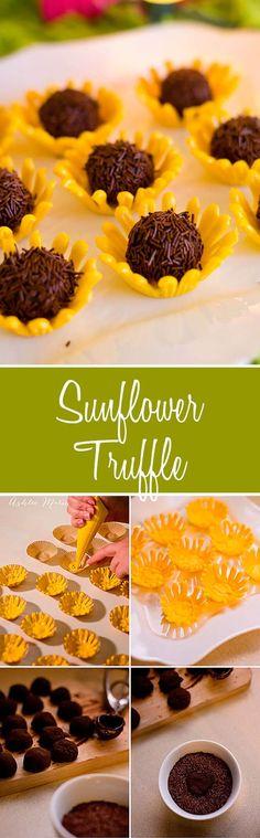 Chocolate sunflower truffles in an adorable candy bowl! via @ashleemariecake