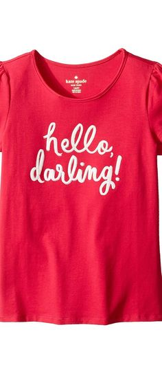 Kate Spade New York Kids Hello Darling Tee (Little Kids/Big Kids) (Tagine Pink) Girl's T Shirt - Kate Spade New York Kids, Hello Darling Tee (Little Kids/Big Kids), 93C34031-63-653, Apparel Top Shirt, T Shirt, Top, Apparel, Clothes Clothing, Gift, - Street Fashion And Style Ideas