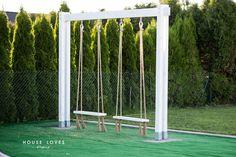 Huśtawka Ogrodowa (Nie Tylko dla Dziecka) - DIY - Swing Sets For Kids, Kids Swing, Garden Swing Seat, Garden Gazebo, Backyard Swings, Backyard For Kids, Kids Outdoor Playground, Kids Play Spaces, Outdoor Baby