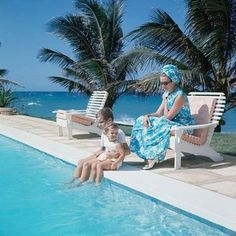 Noblesse et Royautés: Monaco's Royal Family in the Caribbean, Summer 1966-Prince Albert with his baby sister Princess Stephanie and their mother Princess Grace