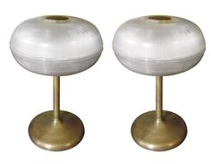 Pair of French Glass Holophane and Brass Table Lamps 1 Vintage Shops, Vintage Items, Brass Table Lamps, Contemporary Lamps, Vintage Lighting, Cool Furniture, Candle Holders, Chandelier, Lights