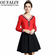 L- 5XL Striped V neck Tie Autumn Skater Dress Young Black Red Short Like and share this pure awesomeness! http://www.artifashion.net/product/l-5xl-striped-v-neck-tie-autumn-skater-dress-young-black-red-short/ #shop #beauty #Woman's fashion #Products