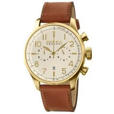 Gold Classico Watch. Brera Orologi designs unique, functional time pieces using state-of-the art materials and renowned Italian craftsmanship. This 44mm two sub-dial chronograph has a large yellow gold case attached to a supple handmade light brown Italian calfskin strap. $695.00