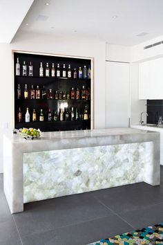 This bar is a quartz dream! This Concetto bar is absolutely stunning and to stun even more, back lighting was added. Product Name:  8141 White Quartz #quartz #interiordesign #beautiful Available at Tuo Sogno Tuosogno.com