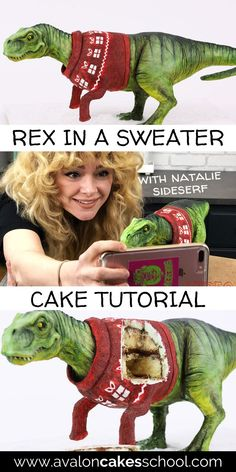Get instant access to our T-Rex in a Christmas Sweater cake decorating tutorial. We'll show you how to build the cake structure, how to model the dinosaur parts prior to adding the cake so your cake stays fresh, how to carve the dinosaur, and how to paint modeling chocolate! This would be a fabulous addition to your Christmas bakery menu. Avalon Cakes School has hundreds of cake tutorials, cookie tutorials, and cake decorating masterclasses.