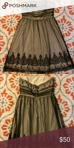 🎉🍾NYE Party Dress🍾🎉Vintage Style💕 Beautiful nude strapless dress with black tulle and beadwork overlay. Worn 1 time, so many compliments! Size 10. Like new! David's Bridal Dresses