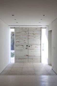 whitewashed wooden slat doors - beautiful
