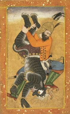 Rustam Kills a Demon Attributed to Mahesha, Indian, active c. 1570 - 1590 Made in Delhi, India, Mughal Dynasty (1526-1858) c. 1575 Opaque watercolor and gold on paper Philadelphia Museum of Art