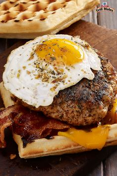Bring your A-game to the grill with this ground pork waffle burger rubbed with Smokehouse Maple Seasoning, sweet brown sugar, sage and thyme for an intense flavor combo. Sandwich it between two Belgian waffles and top it with melty cheddar, crispy bacon and an ooey-gooey fried egg for a mindblowing breakfast recipe. It's the burger grilling dreams are made of.