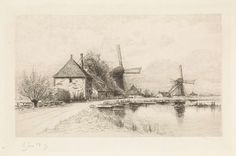 Elias Stark   Huizen en twee molens langs een rivier, Elias Stark, 1894  