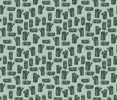 tree logs // stump tree logs woodland forest lumberjack wood hand-drawn nursery mint illustration fabric by andrea_lauren on Spoonflower - custom fabric