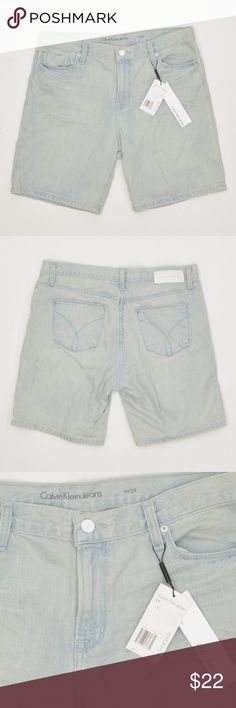 """Boyfriend Denim Shorts Condition: NEW with Tags Style: Denim Shorts Closure: Button with Zipper Material: 100% Cotton Care: Machine Wash Cold Color: Casper Blue Rise: Classic Inseam: 7.5"""" avg  Tag Size: 26 Waist: 30"""" Hips: 37""""  Tag Size: 27 Waist: 30.5"""" Hips: 38""""  Tag Size: 28 Waist: 31.5"""" Hips: 39""""  Tag Size: 29 Waist: 33.5"""" Hips: 40.5""""  Tag Size: 30 Waist: 34"""" Hips: 41""""  Tag Size: 31 Waist: 35.5"""" Hips: 42"""" Calvin Klein Shorts Jean Shorts"""