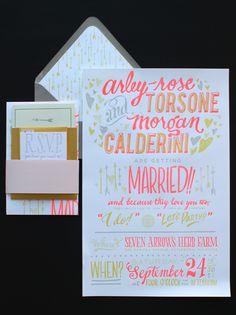 Neon letterpress wedding invites from Ladyfingers Letterpress