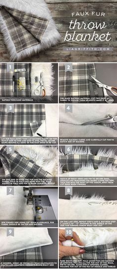 Stay warm this winter with a DIY cozy faux fur throw blanket! This decorative accent is perfect for your couch, bed or, chair. We love the pattern on this grey version created by Lia Griffith! - Diy for Home Decor Sewing Hacks, Sewing Tutorials, Sewing Crafts, Sewing Patterns, Diy Crafts, Sewing Tips, Learn Sewing, Faux Fur Blanket, Faux Fur Throw
