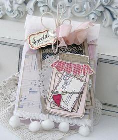 Love this beautiful, vintage card by Melissa Phillips using PTI's Friendship Jar Series & the Button Boutique stamp sets...
