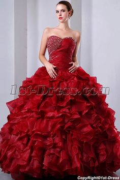 8d3cdf2eb4a 1st-dress.com Offers High Quality Fancy Burgundy Puffy baile de debutantes  Dress Sweetheart