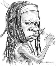 677 best celebrity caricatures pt 2 images celebrity caricatures Sad Celebrity the walking sketch week michonne today s walking dead caricature michonne as portrayed by danai guiria
