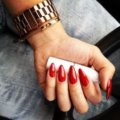 Red stilettos! Hate that my red polish stains my nails even with the basr coat :(