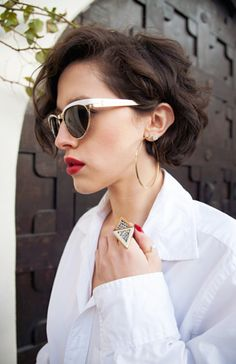 White Shirt + Red Lips and Nails + Short Bangs + Cool Sunglasses