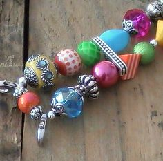 Bright, Bold Multi-Color Beaded Watchband, Stretchy, Interchangeable