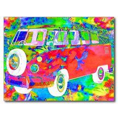 sold a copy of this crazy Bohemian Flower Child Minivan Postcard