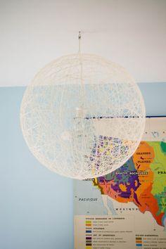 Luminaire design - laine et colle à papier peint