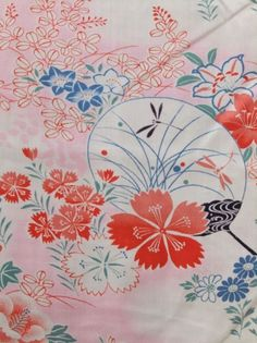 'Spring Mist' - Ladies under kimono from c.1920s-1930s  Aaahhh this kimono is soooooo pretty :) I can look at it all day. I love the pretty flowers and dragonfly! The background pink colour is such a soft innocent baby pink :) Love it ♡ x