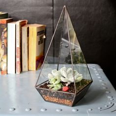 Add a little dirt along with a cute little succulent for the perfect little plant for a nightstand or side table   www. mooreaseal.com