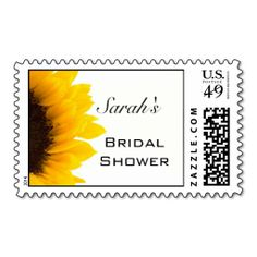 sunflower bridal shower postage